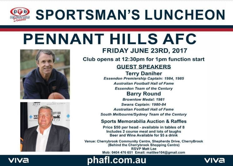 Pennant Hills AFL 2017 Sportspersons lunch